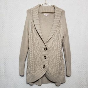 3 Button*Chunky Knit*Long Tan Cardigan*Sz L*